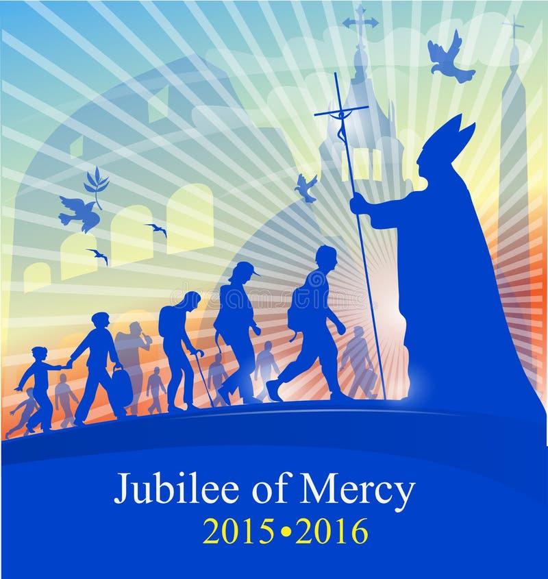 周年纪念与教皇的marcy 向量例证