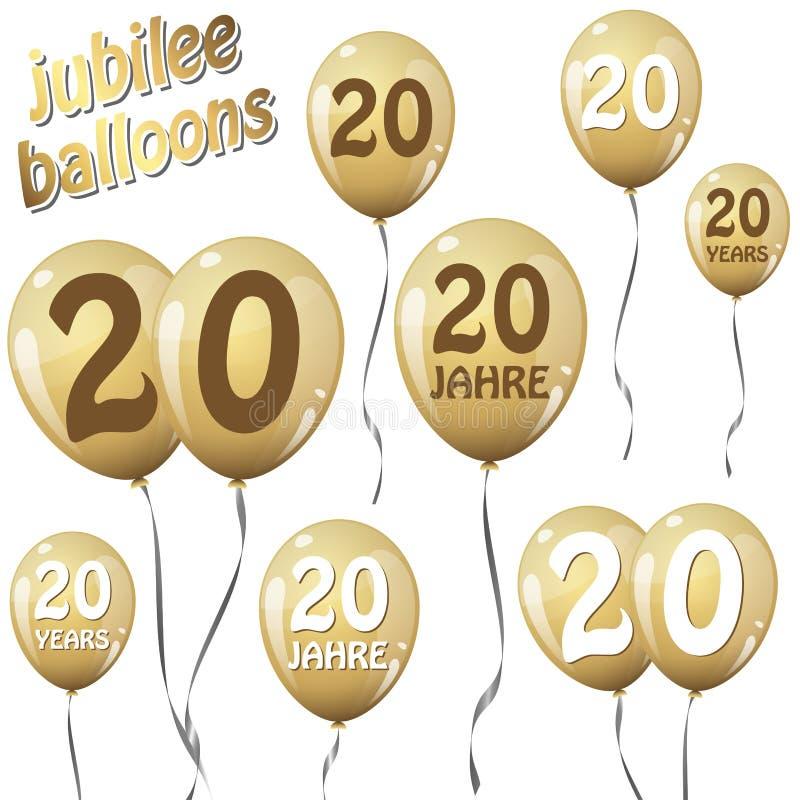 周年纪念气球 皇族释放例证