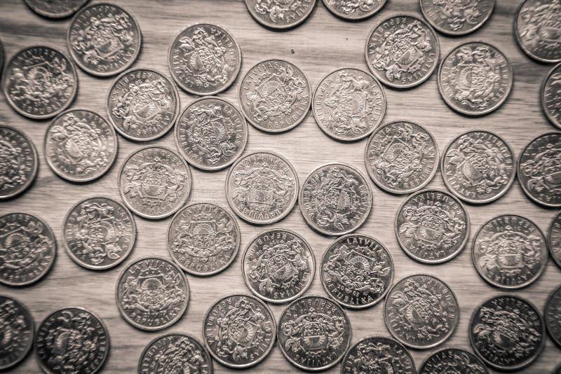 周年老拉脱维亚货币的拉特硬币-单色vi 免版税库存图片