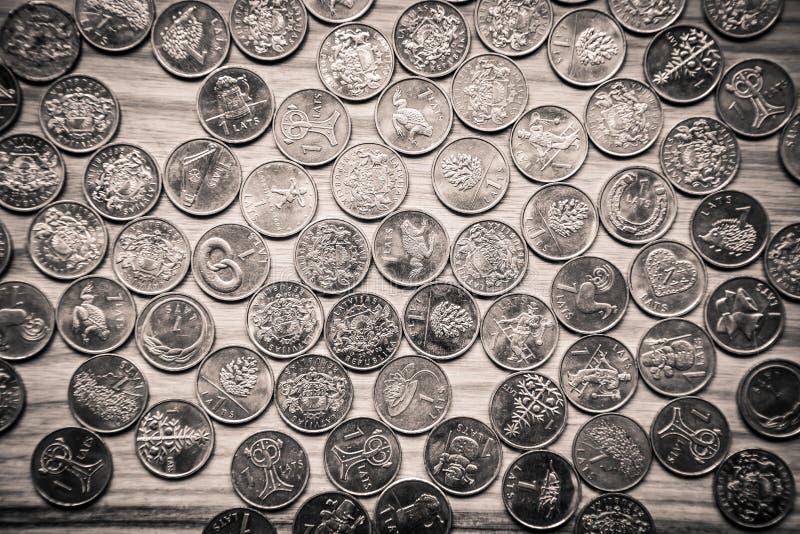 周年老拉脱维亚货币的拉特硬币-单色vi 免版税图库摄影