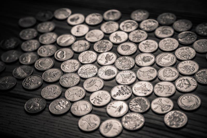周年老拉脱维亚货币的拉特硬币-单色vi 库存照片