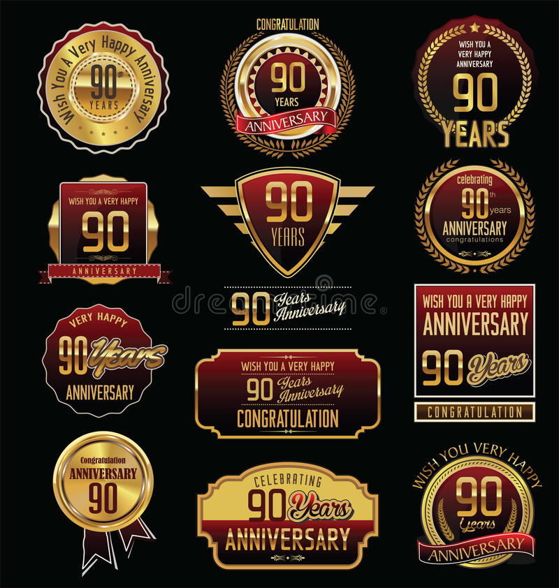 周年金黄标签收藏90年 向量例证