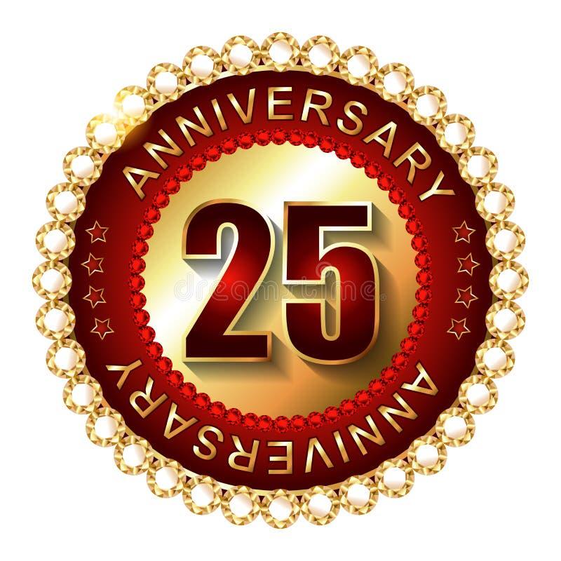25年周年金黄标签 库存例证