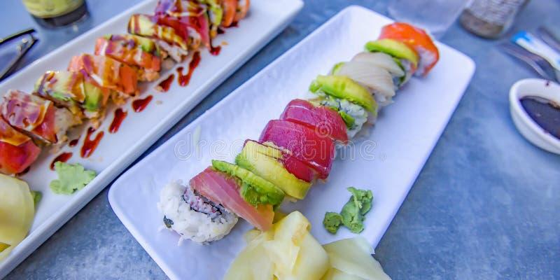 味道好的寿司用海鲜和vegatables 免版税库存照片