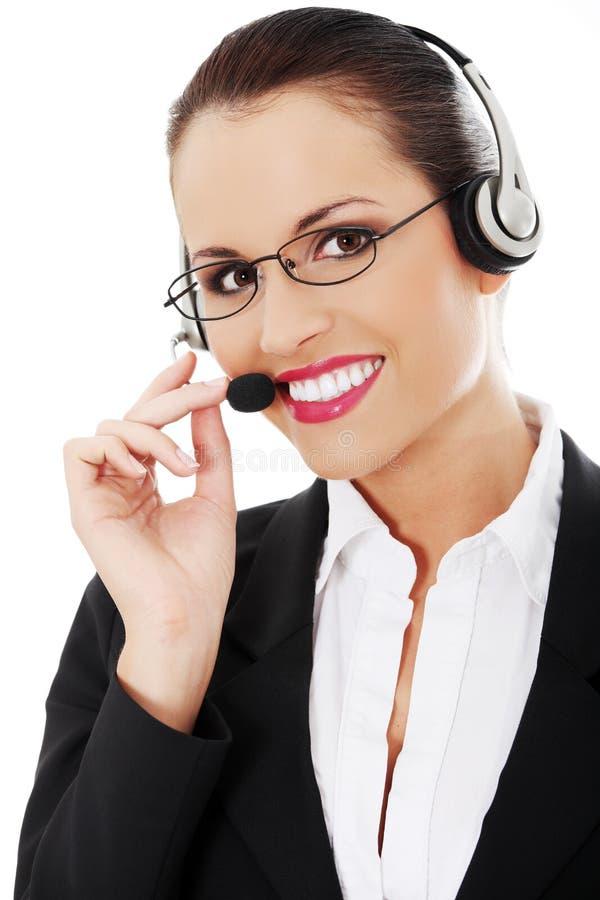 呼叫中心妇女 免版税库存图片