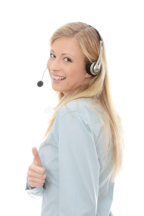 呼叫中心耳机妇女 库存照片