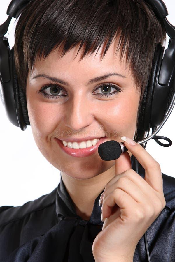 呼叫中心运算符微笑的妇女 库存照片