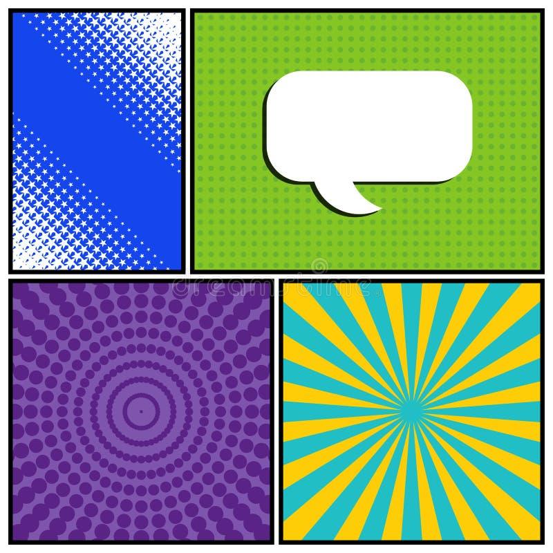 呼叫漫画的模板用不同的纹理和颜色 库存例证