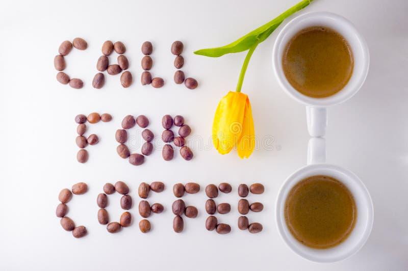 呼叫请求咖啡 免版税库存图片