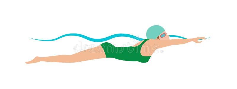 呼吸的盖帽的动态和适合的游泳者进行蝶泳水池体育传染媒介例证 库存例证