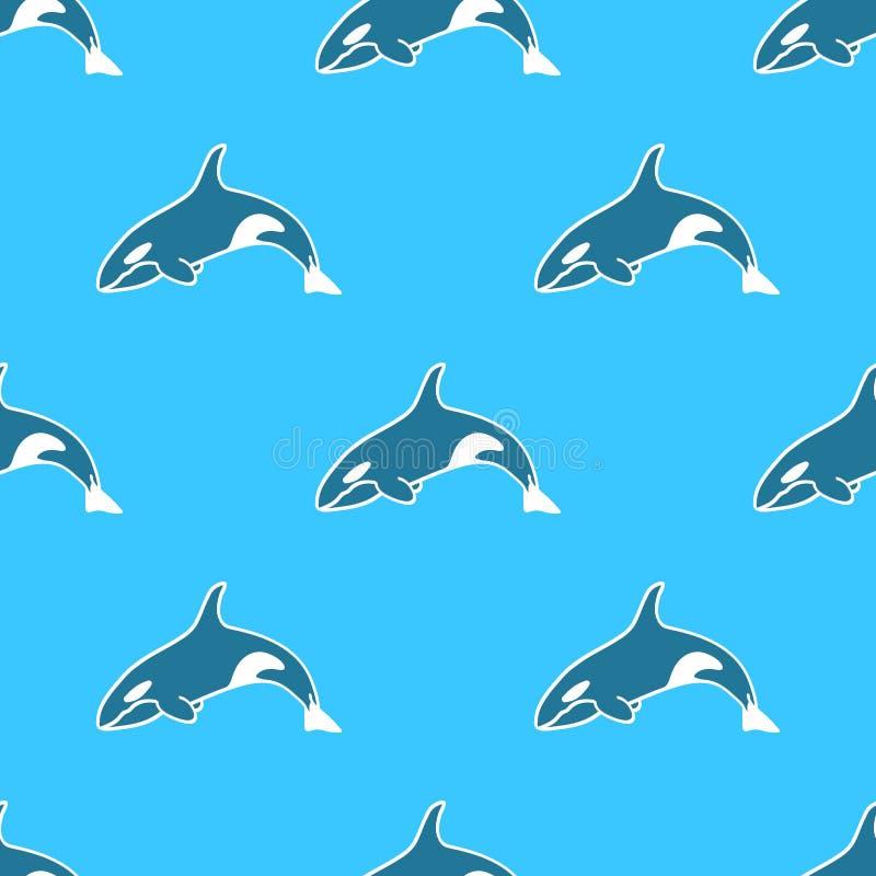 呼吸粗沉的急性子虎鲸无缝的样式动物背景 免版税库存照片