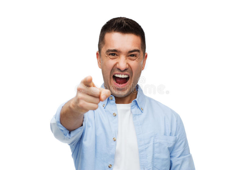 呼喊和指向在您的恼怒的人手指 免版税库存照片