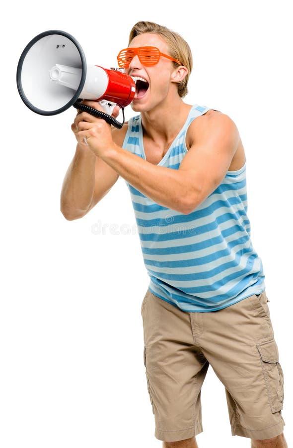 呼喊在扩音机的滑稽的人隔绝在白色背景 图库摄影
