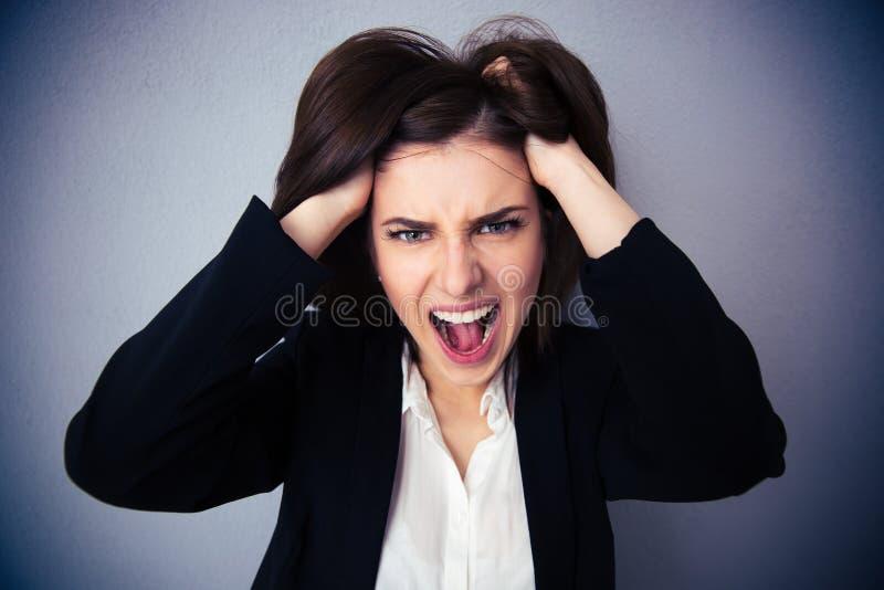 呼喊在灰色背景的恼怒的女实业家 库存图片