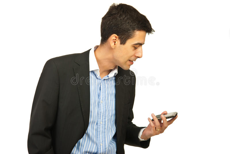 呼喊的商人电话 库存图片
