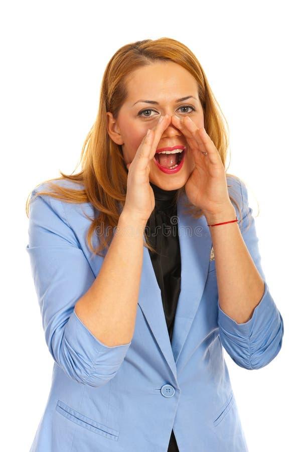 呼喊的女商人 图库摄影