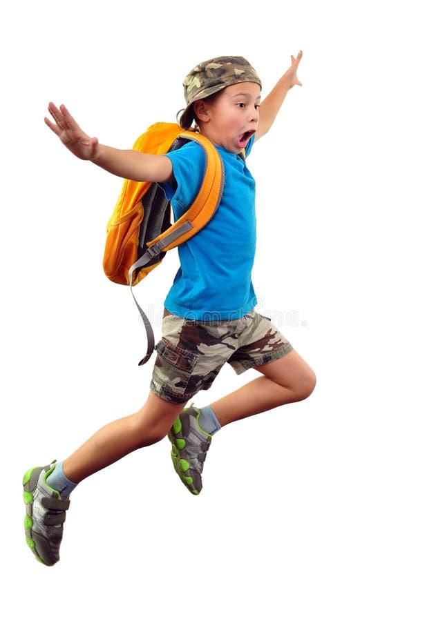 呼喊的跳跃的男孩被隔绝在白色 免版税库存图片