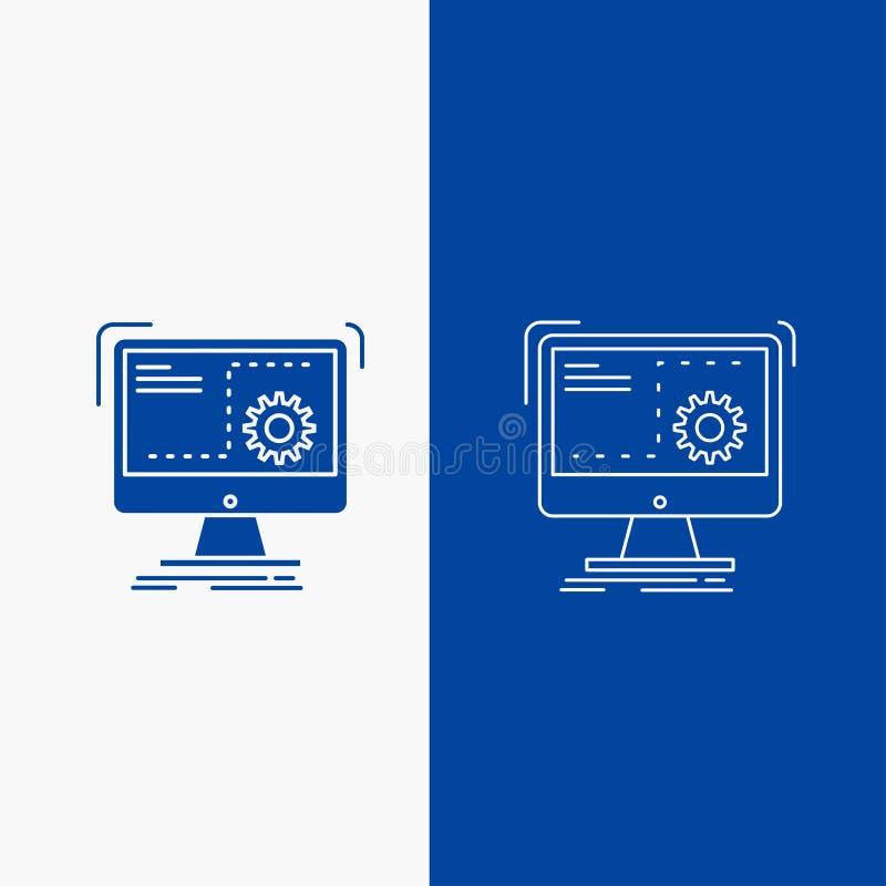 命令、计算机、作用、过程、进展线和纵的沟纹在蓝色垂直的横幅的网按钮UI和UX的,网站或 库存例证