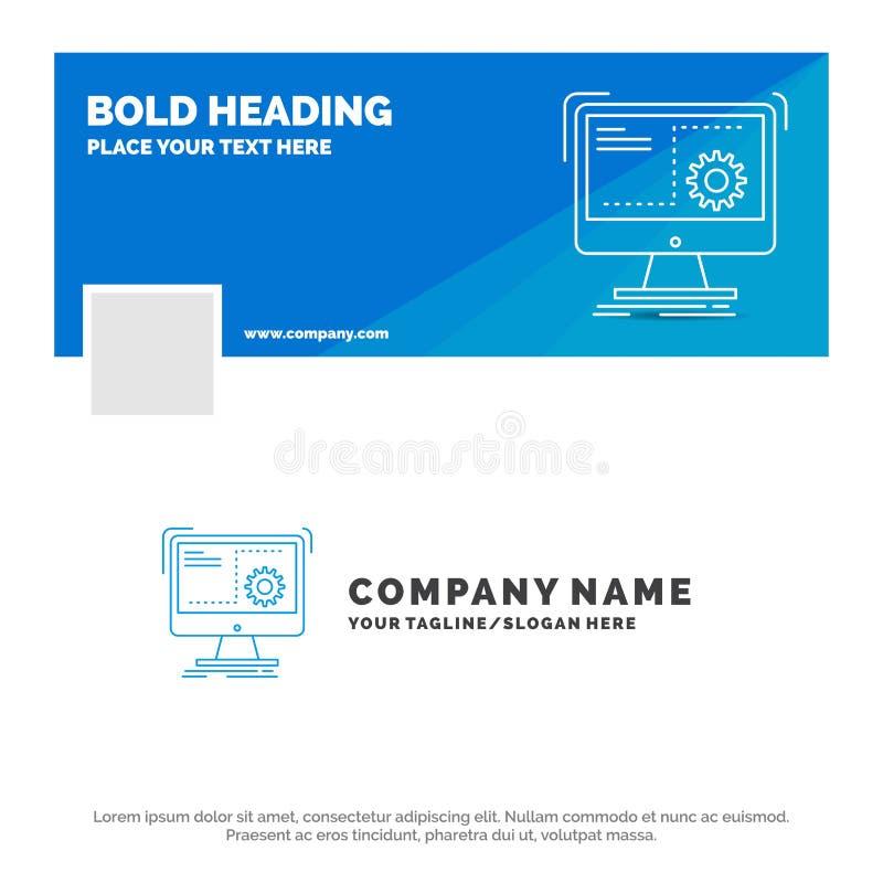 命令的蓝色企业商标模板,计算机,作用,过程,进展 r r 向量例证