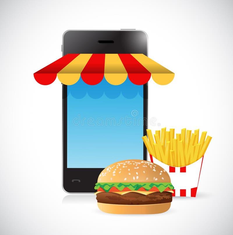 命令网上汉堡和油炸物 移动概念 库存例证