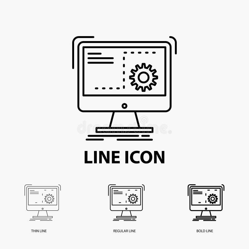 命令,计算机,作用,过程,在稀薄,规则和大胆的线型的进展象 r 库存例证