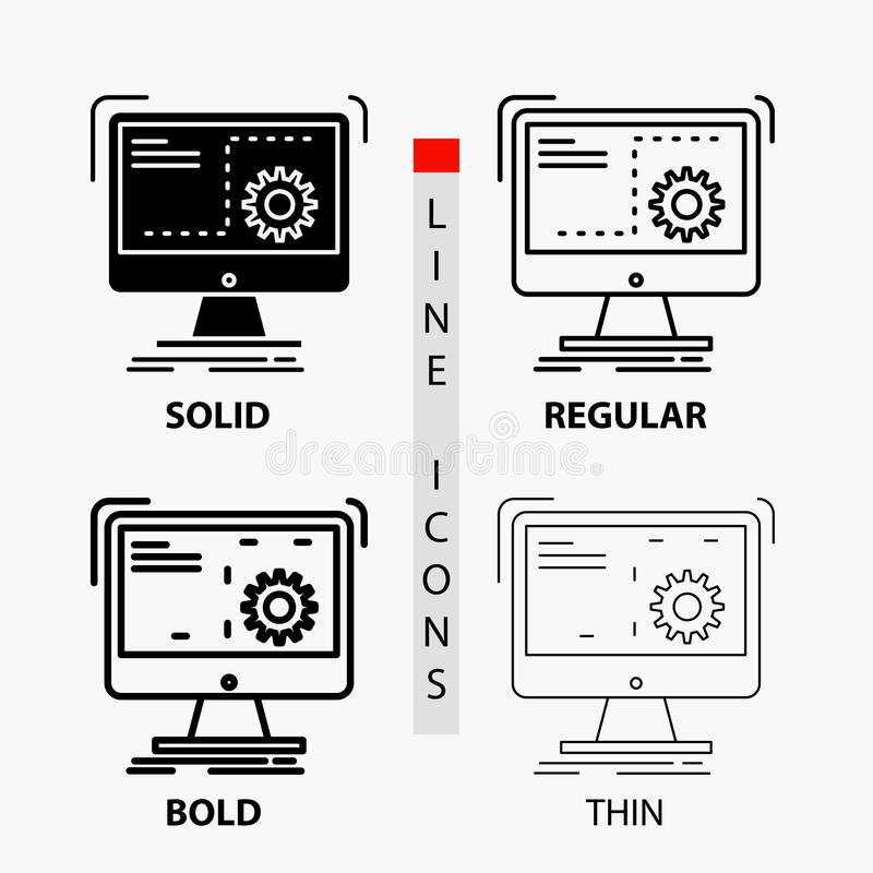 命令,计算机,作用,过程,在稀薄,规则,大胆的线和纵的沟纹样式的进展象 r 向量例证