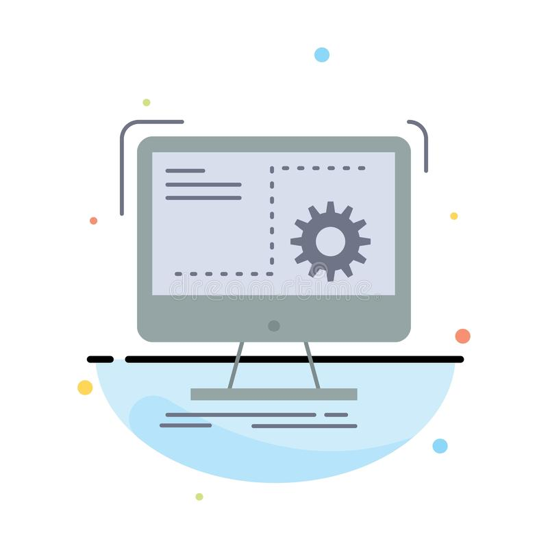 命令,计算机,作用,过程,进展平的颜色象传染媒介 库存例证