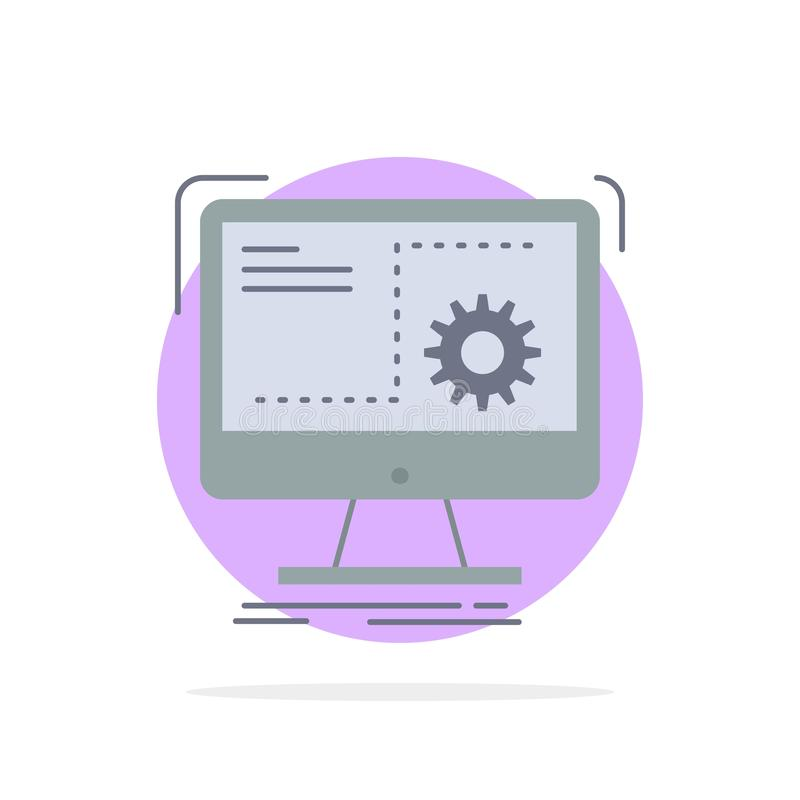 命令,计算机,作用,过程,进展平的颜色象传染媒介 向量例证