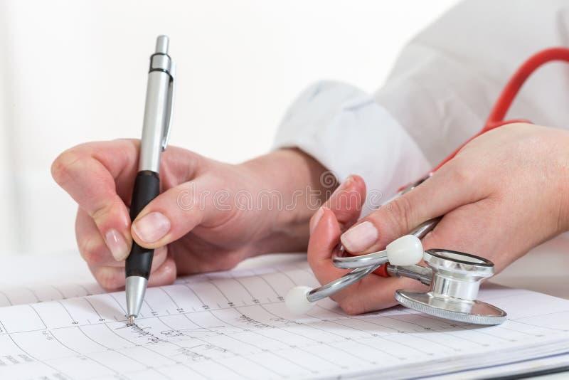 任命是的预定的医生在日历写了为患者 库存照片