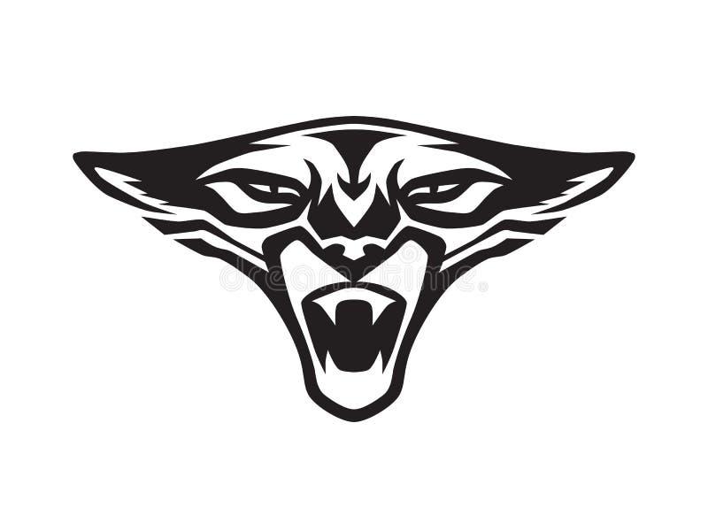 咆哮在白色背景的黑豹面孔 作为商标或吉祥人的狂放的积极的动物头 风格化纹身花刺,图表图象 Vec 向量例证