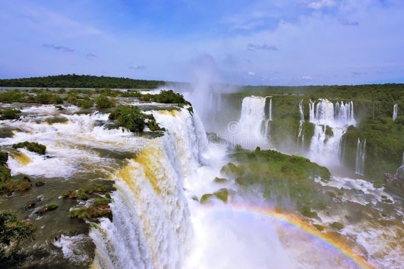 咆哮瀑布在南美-伊瓜苏 免版税库存图片