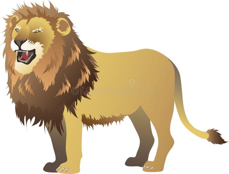 咆哮的狮子,常设侧视图,非洲Savana野生生活动物-传染媒介例证 皇族释放例证