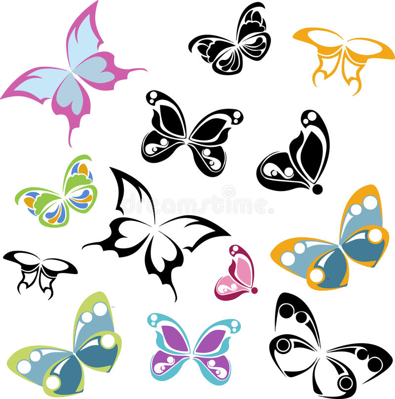 黑和多彩多姿的蝴蝶剪影,白色背景 库存例证