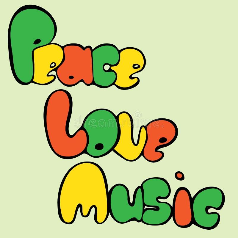 和平、爱和音乐设计在泡影样式在绿色,黄色和红颜色 也corel凹道例证向量 向量例证