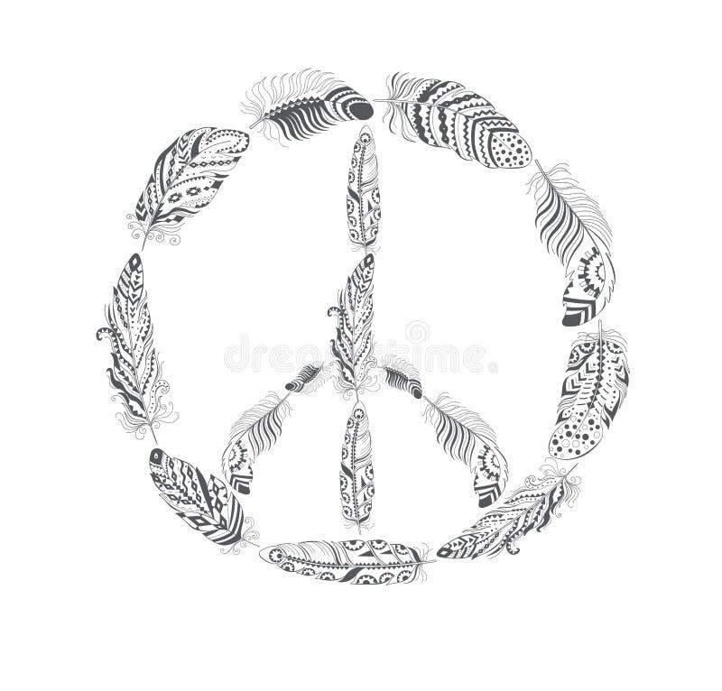 和平与羽毛的嬉皮标志在Boho样式 向量例证