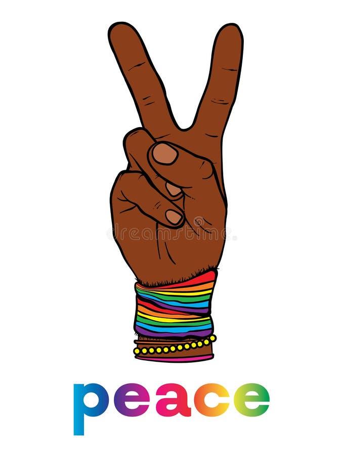 和平主义和嬉皮的标志是有两个手指的一只手 反对种族主义、同性恋恐惧症和战争 和平 也corel凹道例证向量 库存例证