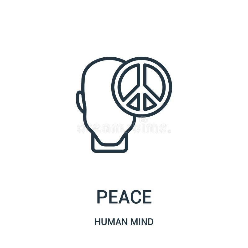 和平从人脑汇集的象传染媒介 稀薄的线和平概述象传染媒介例证 线性标志为在网的使用和 皇族释放例证