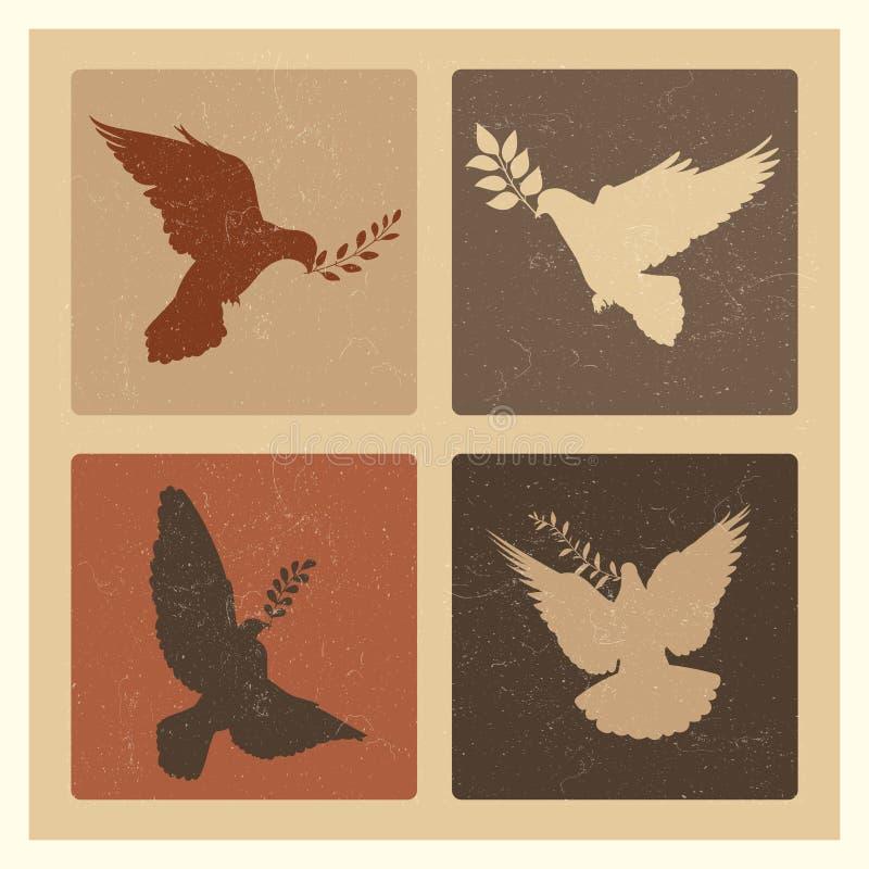 和平剪影象征鸠  与分支商标集合的难看的东西鸽子 向量例证
