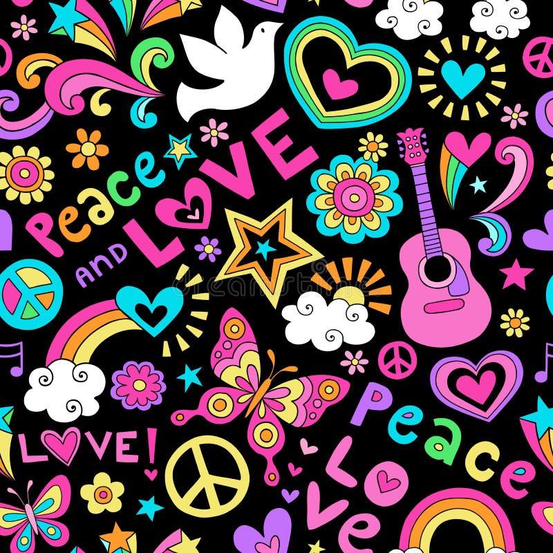 和平和爱无缝的样式荧光的乱画 库存例证