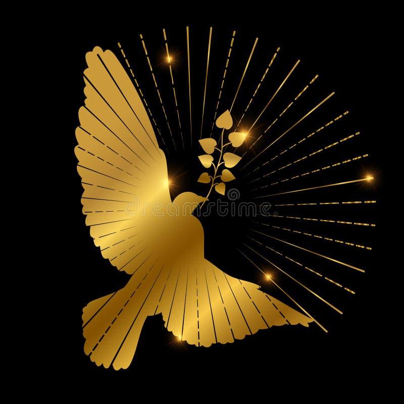 和平商标设计金黄鸠  鸽子、分支和starburst在黑背景 库存例证