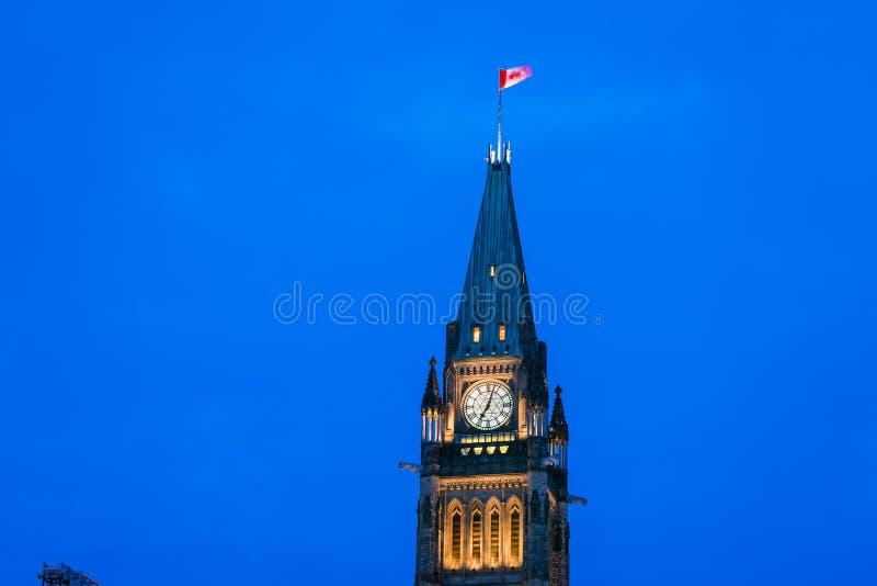 和平塔和百年火焰渥太华,加拿大 图库摄影