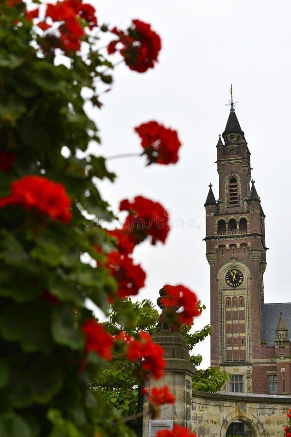 和平宫殿的塔在海牙 免版税图库摄影