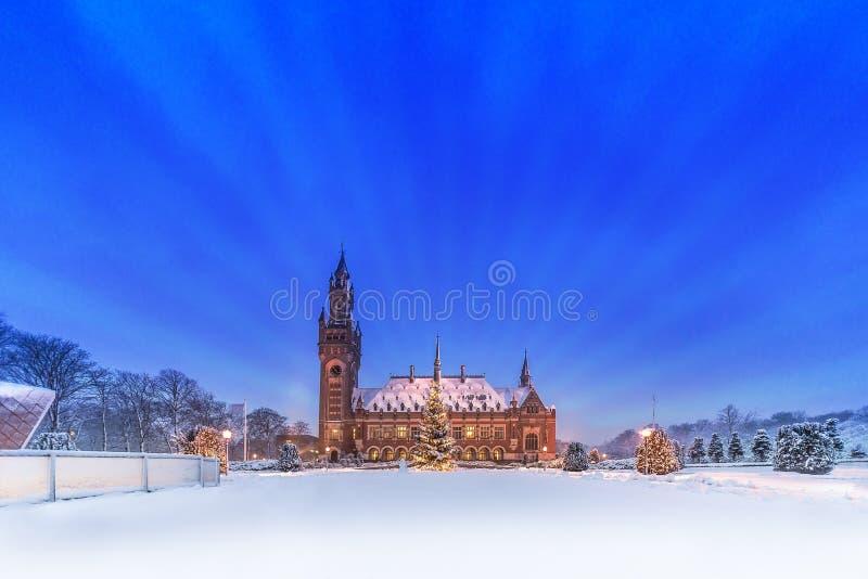 和平宫殿, Vredespaleis,在雪之下 库存照片