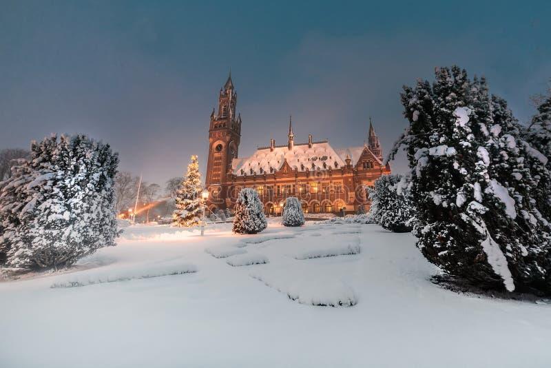 和平宫殿, Vredespaleis,在雪qt夜下 库存照片