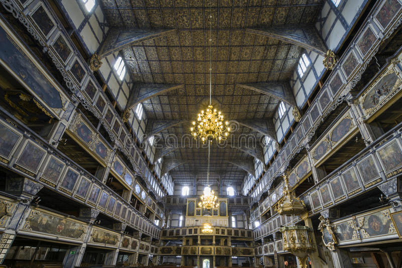 和平教会内部在亚沃尔,波兰 库存照片
