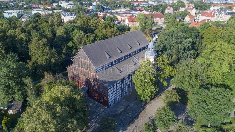 和平教会在亚沃尔,波兰, 08 2017年,鸟瞰图 库存照片