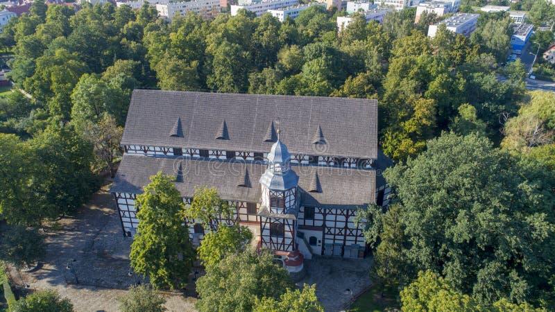 和平教会在亚沃尔,波兰, 08 2017年,鸟瞰图 图库摄影