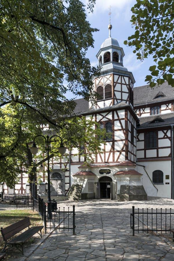 和平木教会外部在亚沃尔,波兰 图库摄影