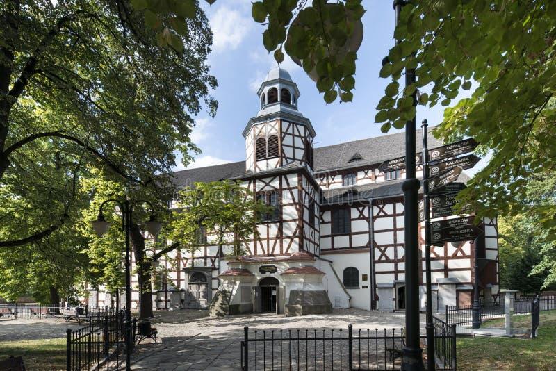和平木教会外部在亚沃尔,波兰 免版税库存图片