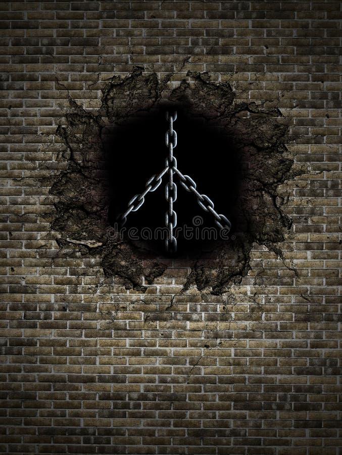 和平标志由在砖墙的金属链子制成 免版税库存照片